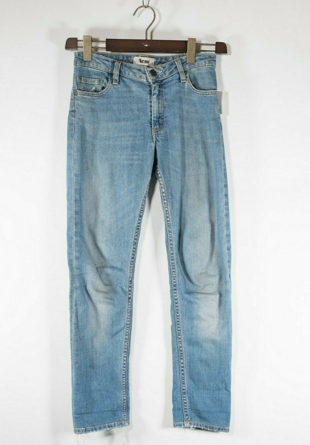 Acne Women's Size 27 Small Blue Jeans Cotton Blend Slim Fit Straight Leg Denim