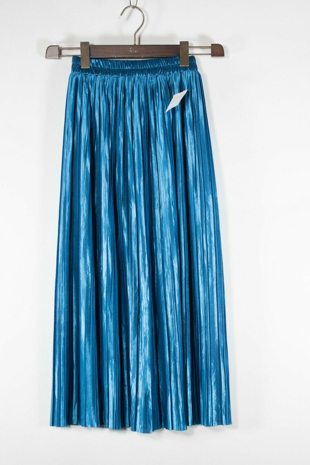 Abercrombie & Fitch Womens Medium Blue Skirt Metallic Pleated Elastic Waist Midi