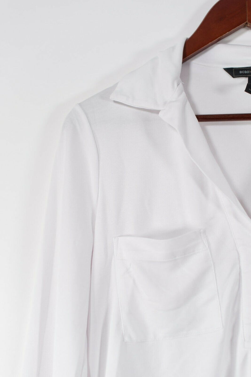 BCBG Womens White XS Blouse White Button Front Collared