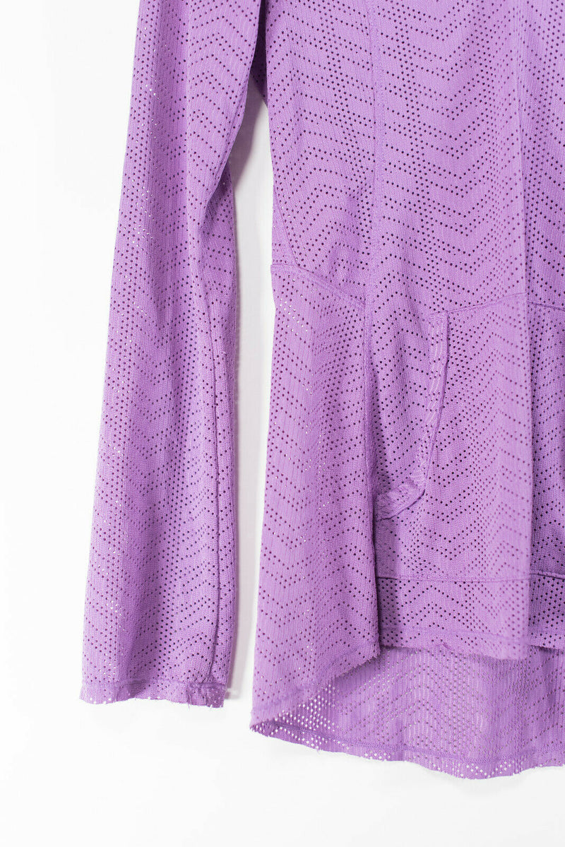 Prana Womens XS Purple Lavender Coverup Swim Shirt Front Pockets Long Sleeve Top