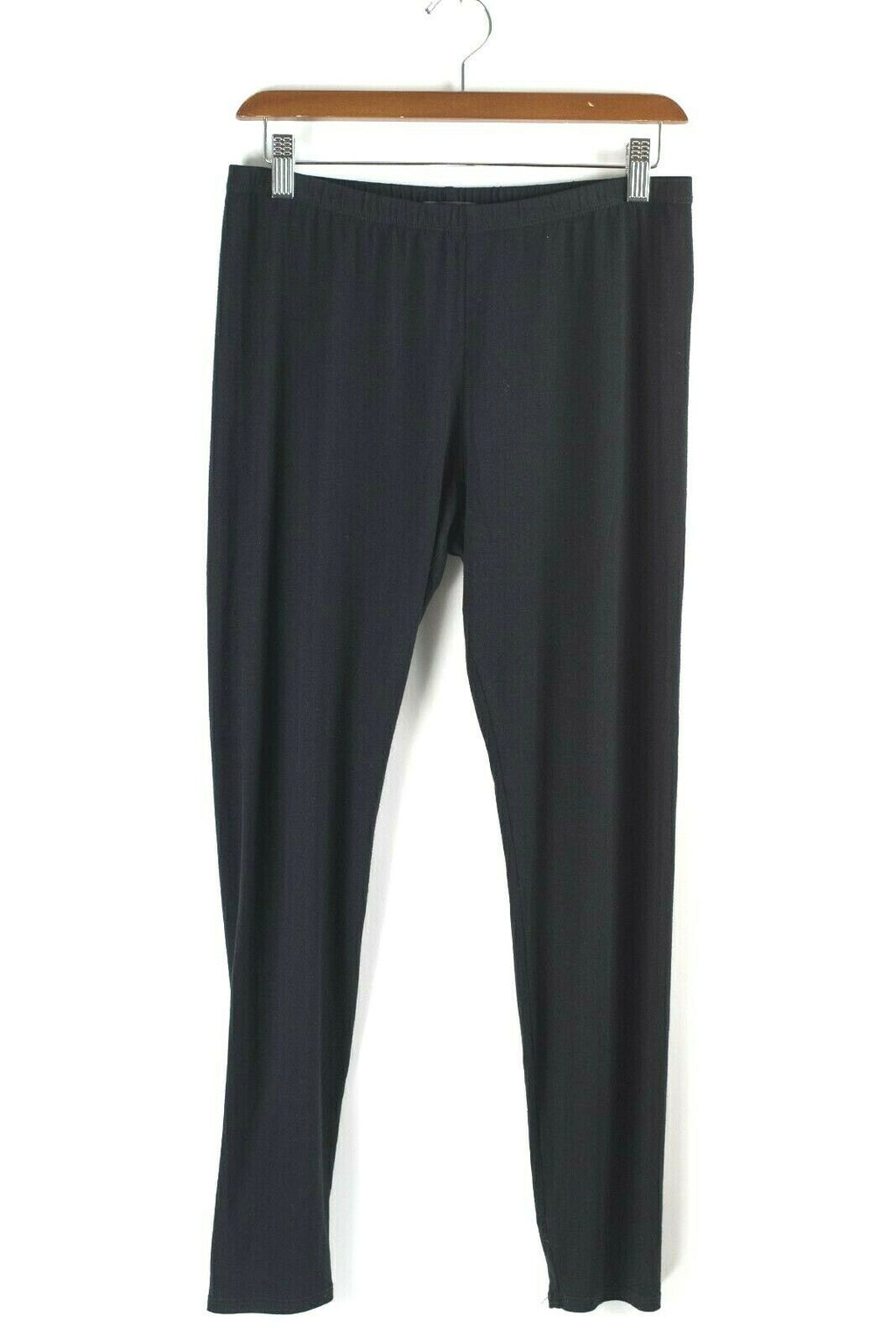 Eileen Fisher Medium Black Pants Jersey Knit Elastic Waist Stretch Crop Leggings