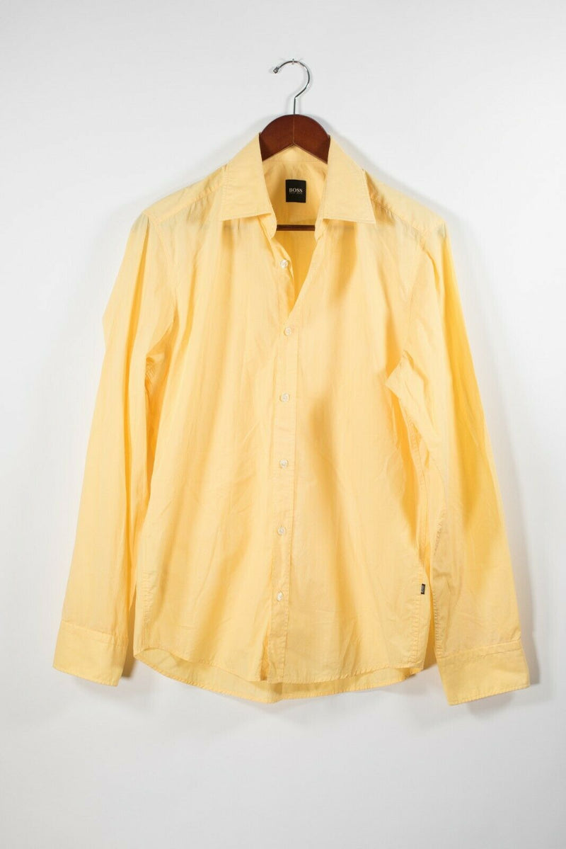 Boss Hugo Boss Mens Medium Yellow Long Sleeve Button Down Shirt Casual Designer