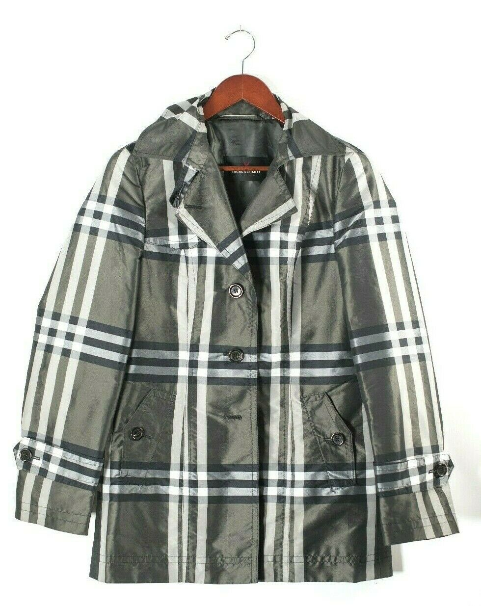 Fuchs Schmitt Womens Medium Olive Green Raincoat Plaid Nylon Short Trench Jacket