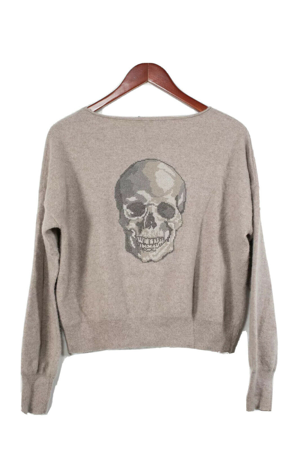 Skull Cashmere Small Beige Embroidered Skull Pullover Sweater