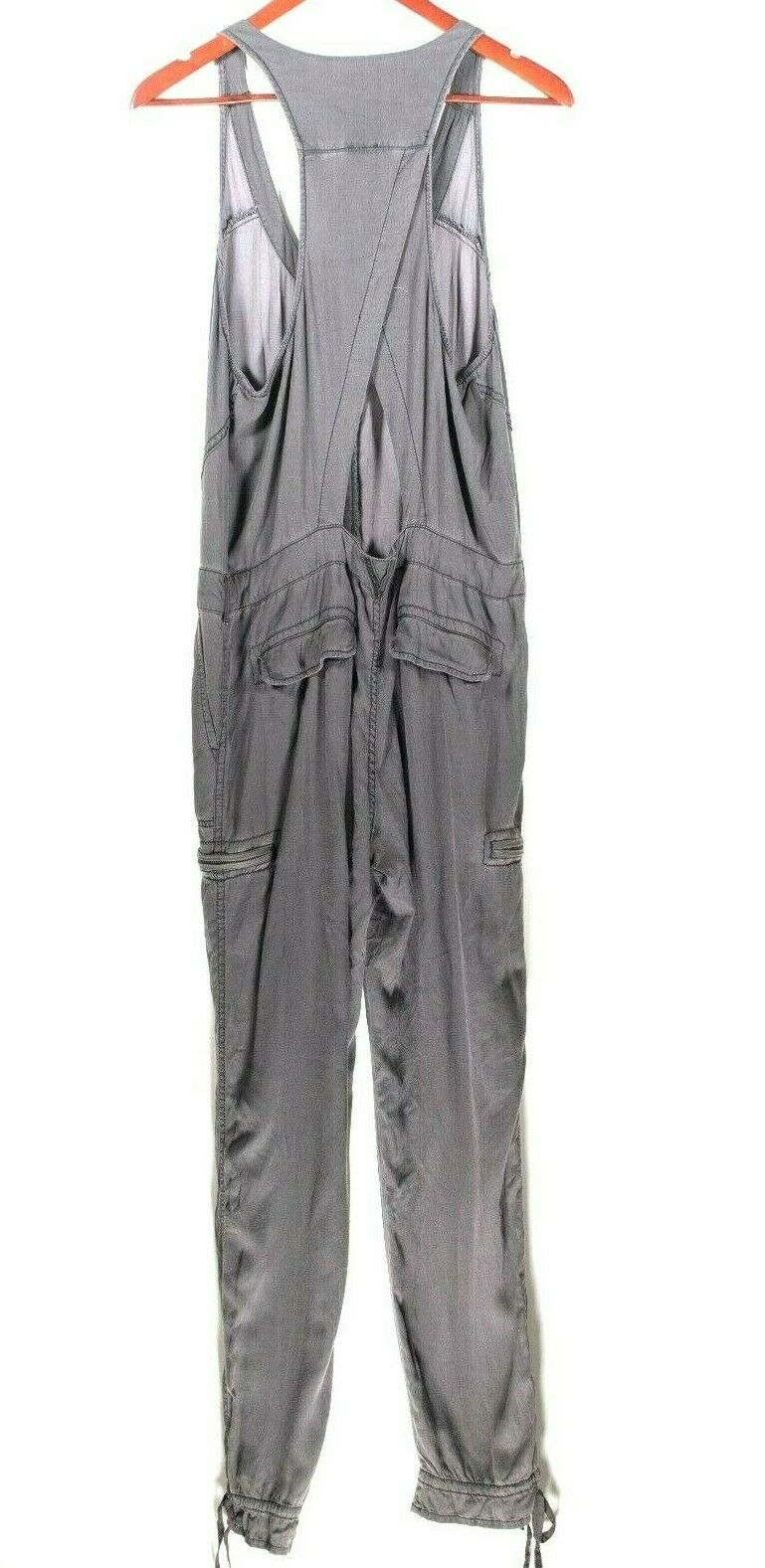 Free People Womens Small Gray Jumpsuit Racerback Cargo Pocket Drawstring Pants