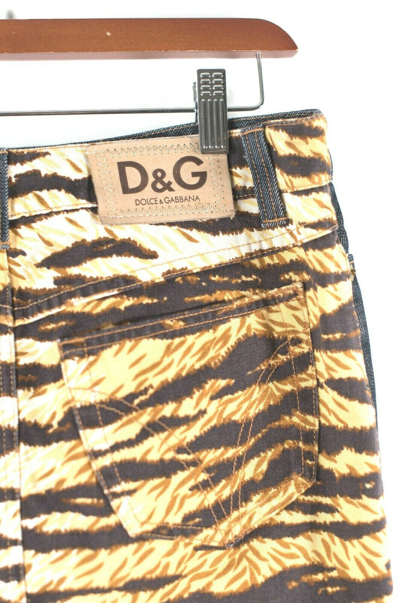 Dolce & Gabbana D&G Womens 40 S Blue Orange Denim Skirt Tiger Animal Print Mini