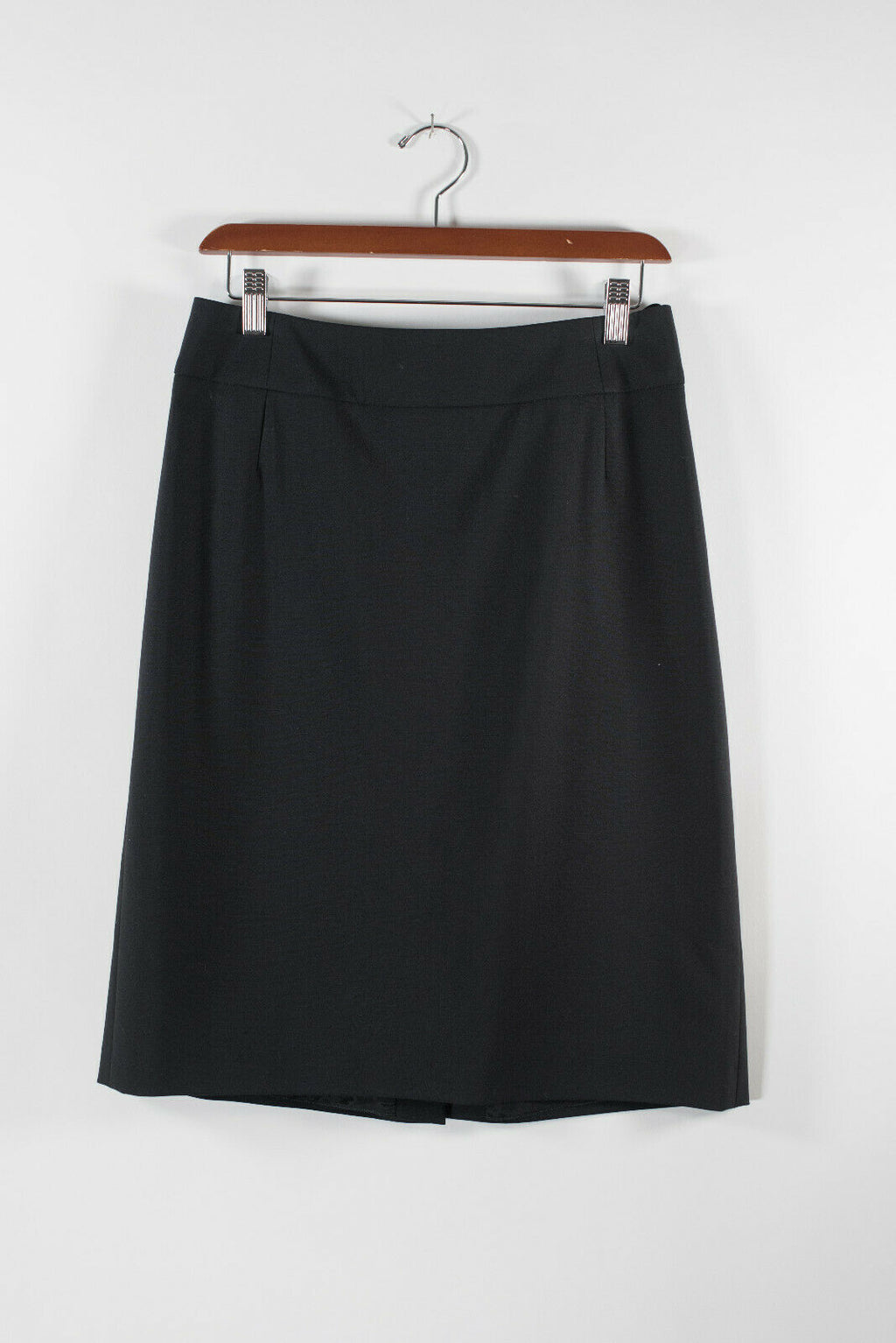 Hugo Boss Womens Size 8 Medium Black Skirt A-Line Solid Zip Knee Length Short