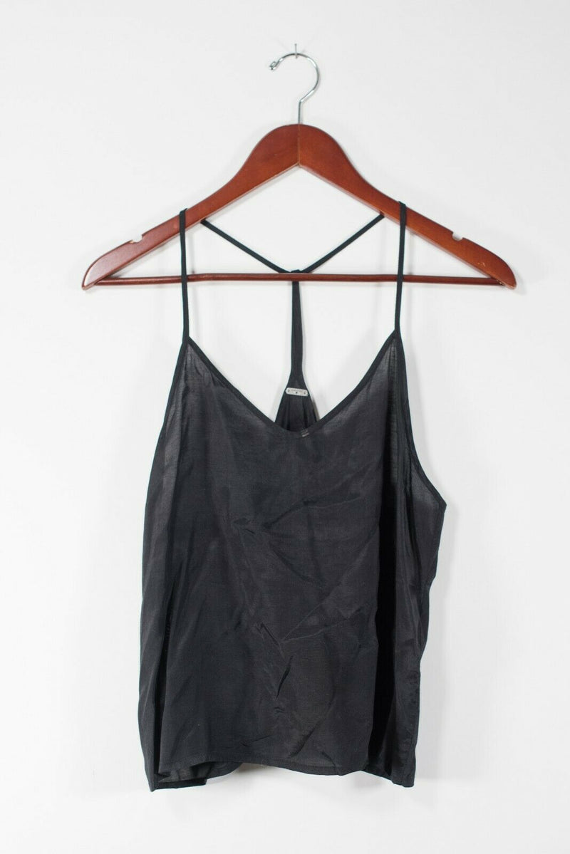 Chan Luu Womens Size Small Black Tank Top Spaghetti Strap V-Neck Semi Sheer Cami