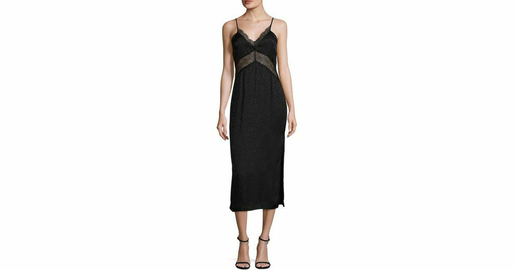 Alice McCall Womens USA 0 XXS Black Dress The Feeling Silk Lace Midi Slip NWT