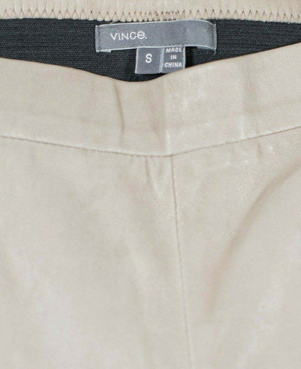 Vince Womens Small Beige Leggings Skinny High Rise Soft Lambskin Leather Pants