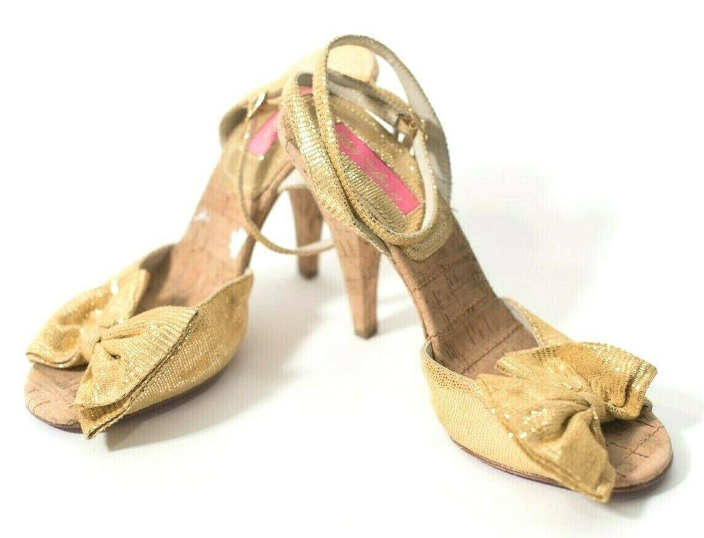 Betsey Johnson Womens Yellow Size 8 Open Toe Shoes Cork Bow Ankle Strap Heel