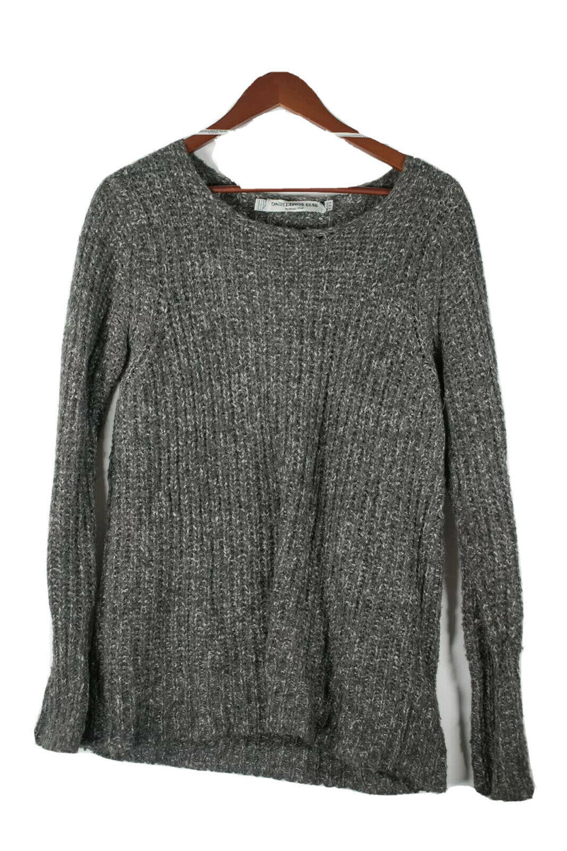 SOMETHING ELSE by Natalie Wood Womens Size 6 S Grey Pullover Sweater Knit Shirt