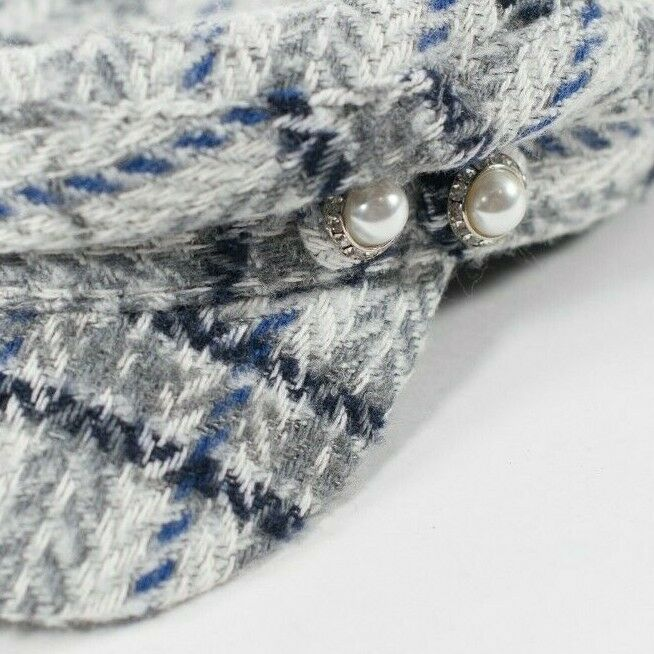 Unbranded Women's Small Gray Blue Newsboy Cap Tweed Pearl Button Knit Plaid Hat