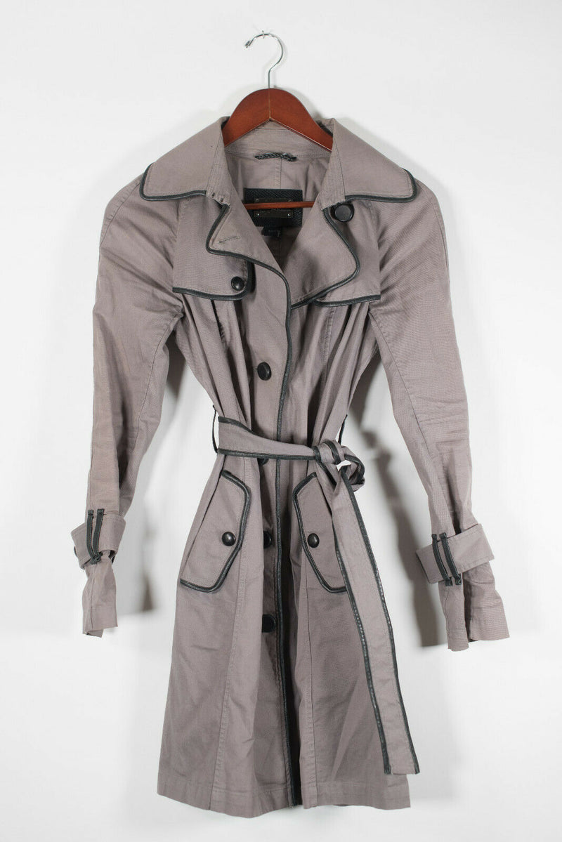 Mackage Womens Size XS Grey Felicia Trench Coat Belted Cotton Black Trim Jacket