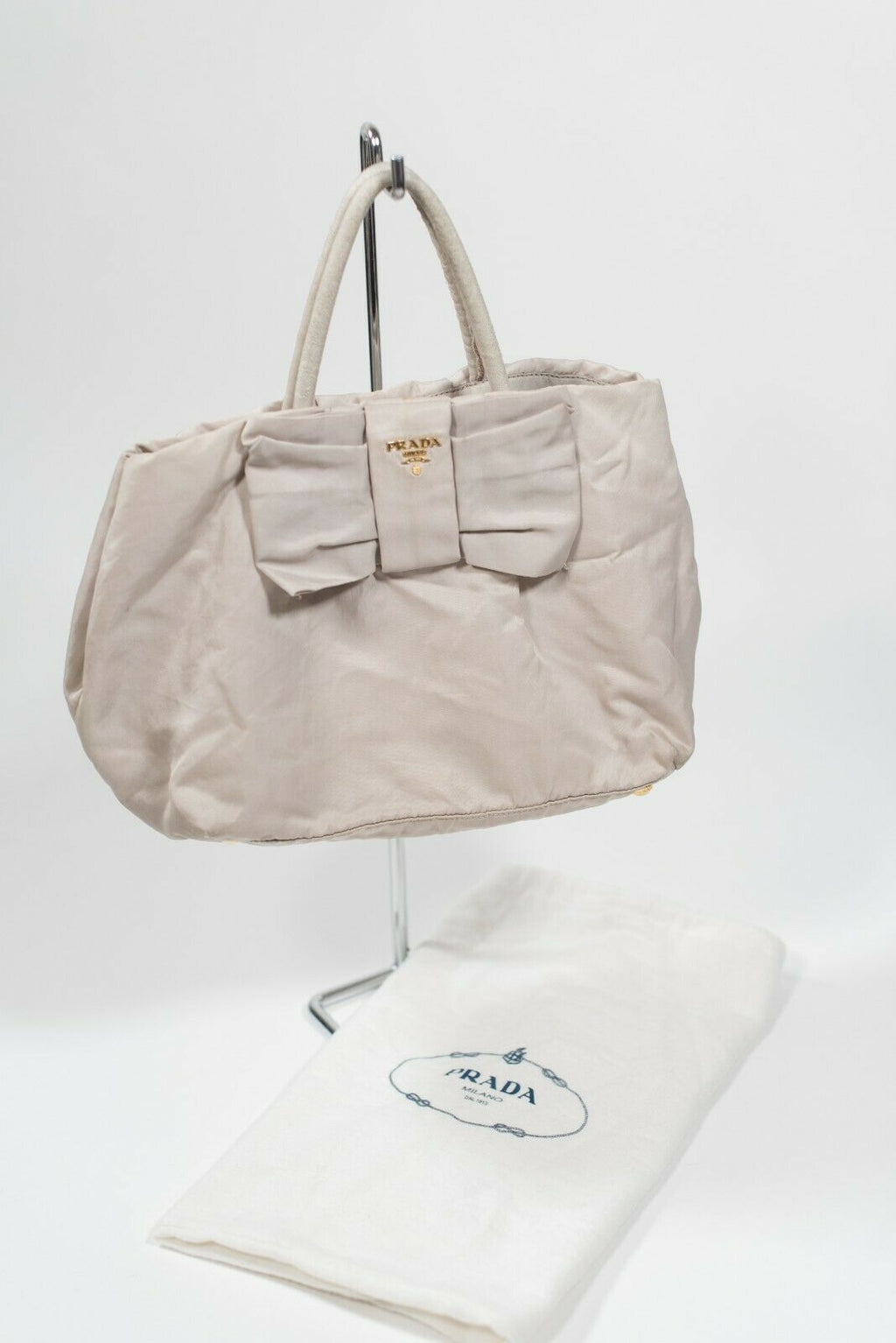 Prada Womens Beige Handbag Nylon Purse Top Handle Bow Purse Dust Bag Included