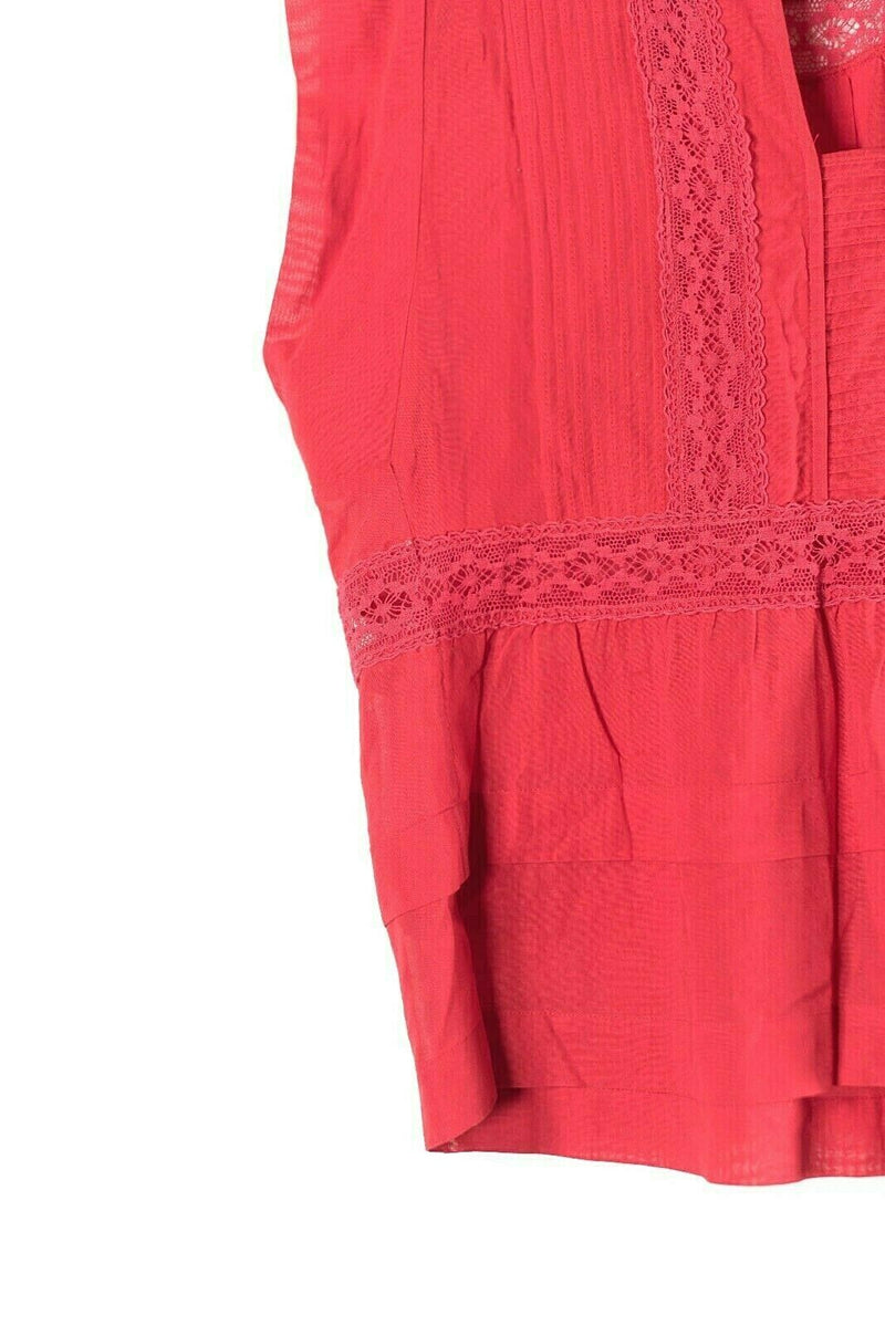 Etoile Isabel Marant Size 34 Red Rodge Lace Trimmed Top