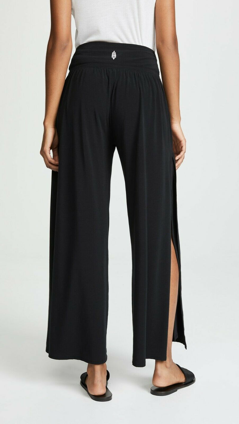 Free People Womens XS Black Pants Wide Leg Jersey Easy Breezy Drawstring Waist