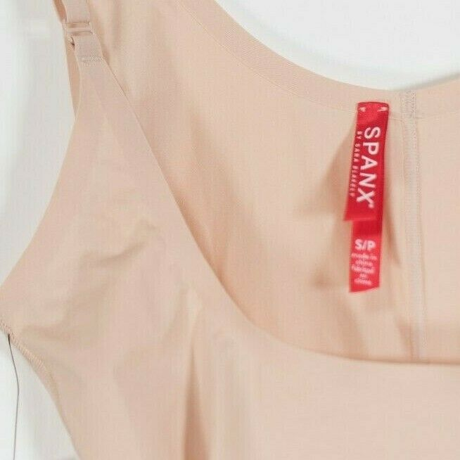 Spanx Women's Size Small Beige Bodysuit Tank Body Shaping Mid Thigh Shorts NWT
