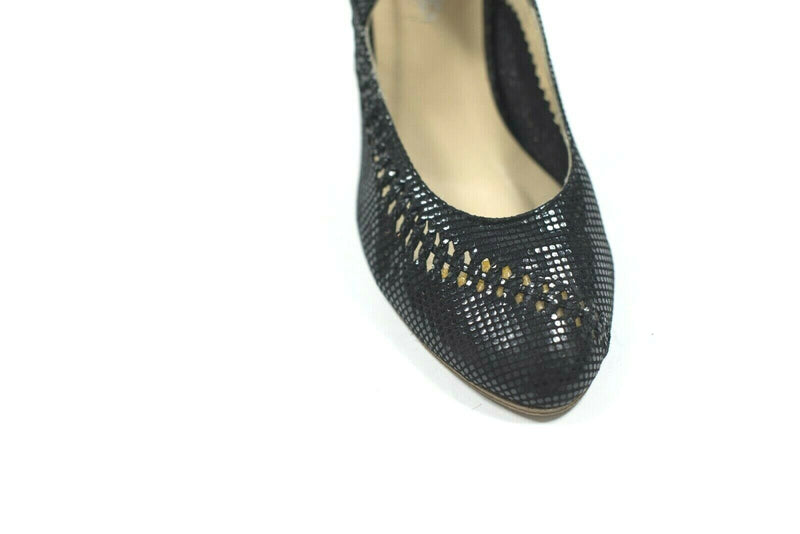 NDC Made by Hand Womens Size 37 Black Pumps Shiny Leather Kiara Vegas Heel Shoes