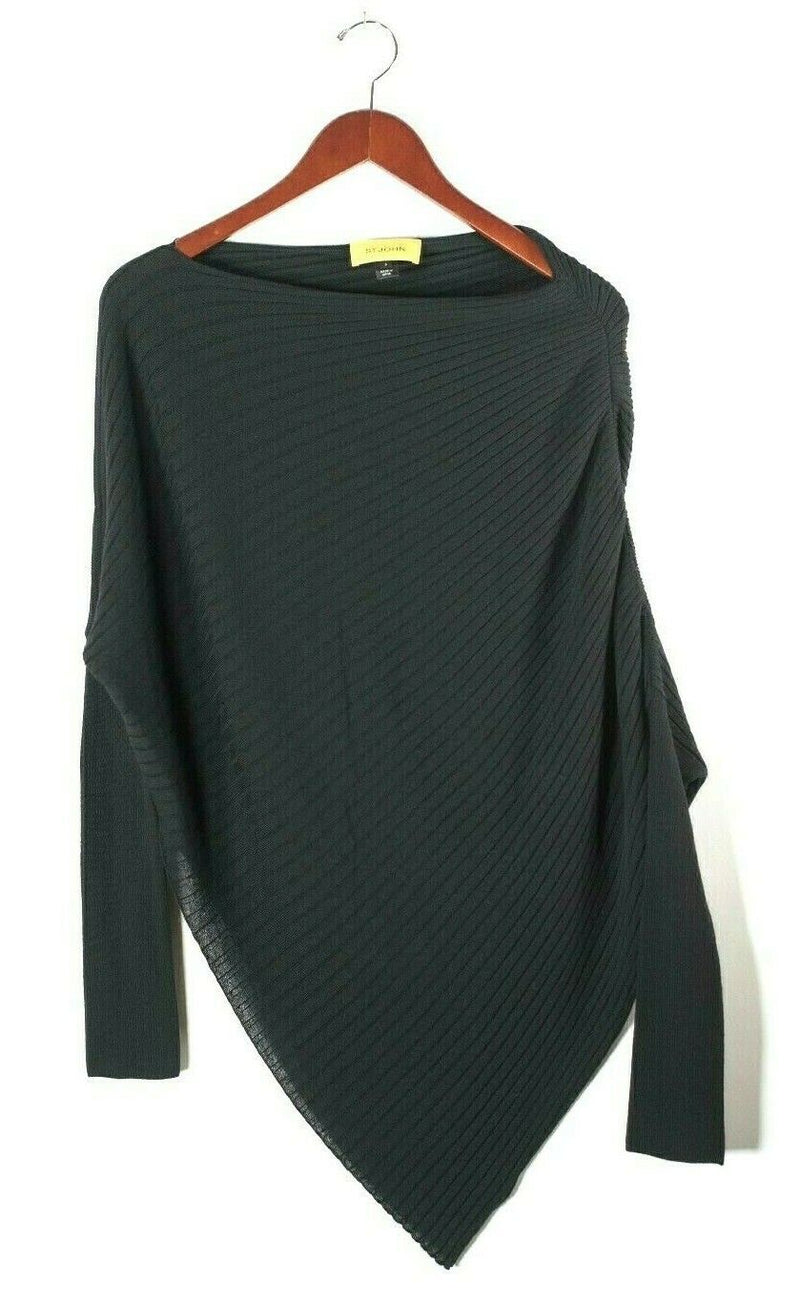 St. John Womens Small Black Pullover Sweater Ribbed Knit Asymmetric Tunic Shirt