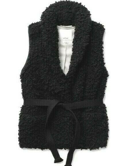Aritzia Wilfred Womens Size XS Black Courcelle Vest Faux Sherpa Fur Belted $175