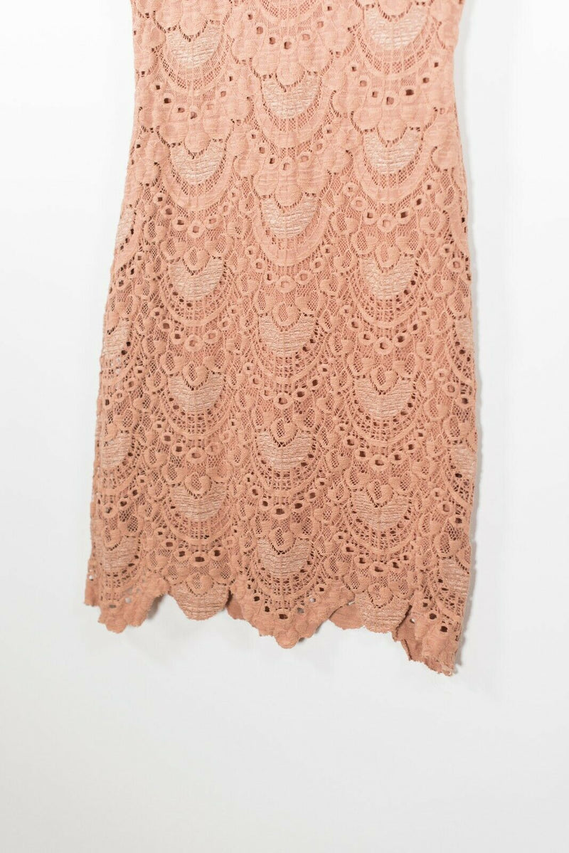 Nightcap Clothing Womens Size 2 Extra Small Brown Dress Stretch Lace V Neck Mini