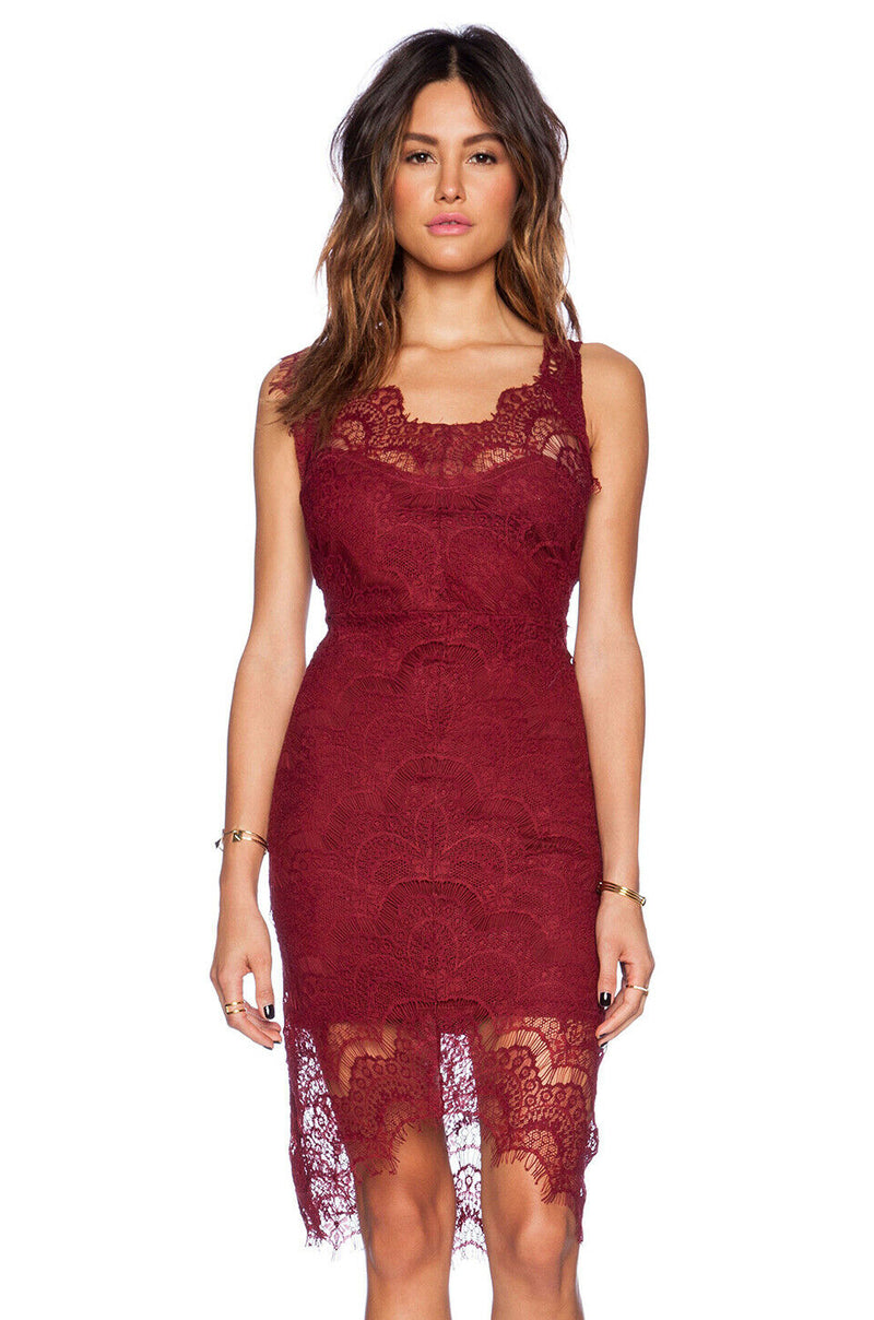 Free People Womens Size XS Slip Dress Peek A Boo Deep Cranberry Red