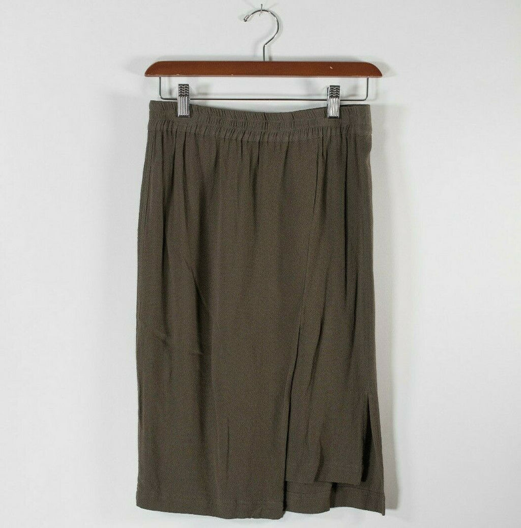Yerse Womens Medium Olive Army Green Skirt Elastic Waist Poly Blend Mini Skater