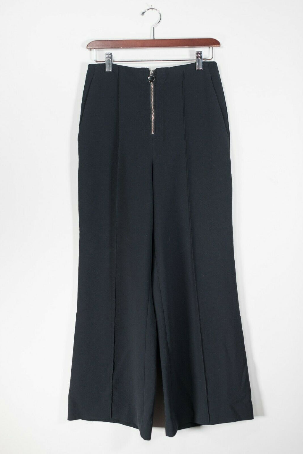 Aritzia Wilfred Women's Size 4 Black Pants Wide Leg Zipper Front Crepe Trousers