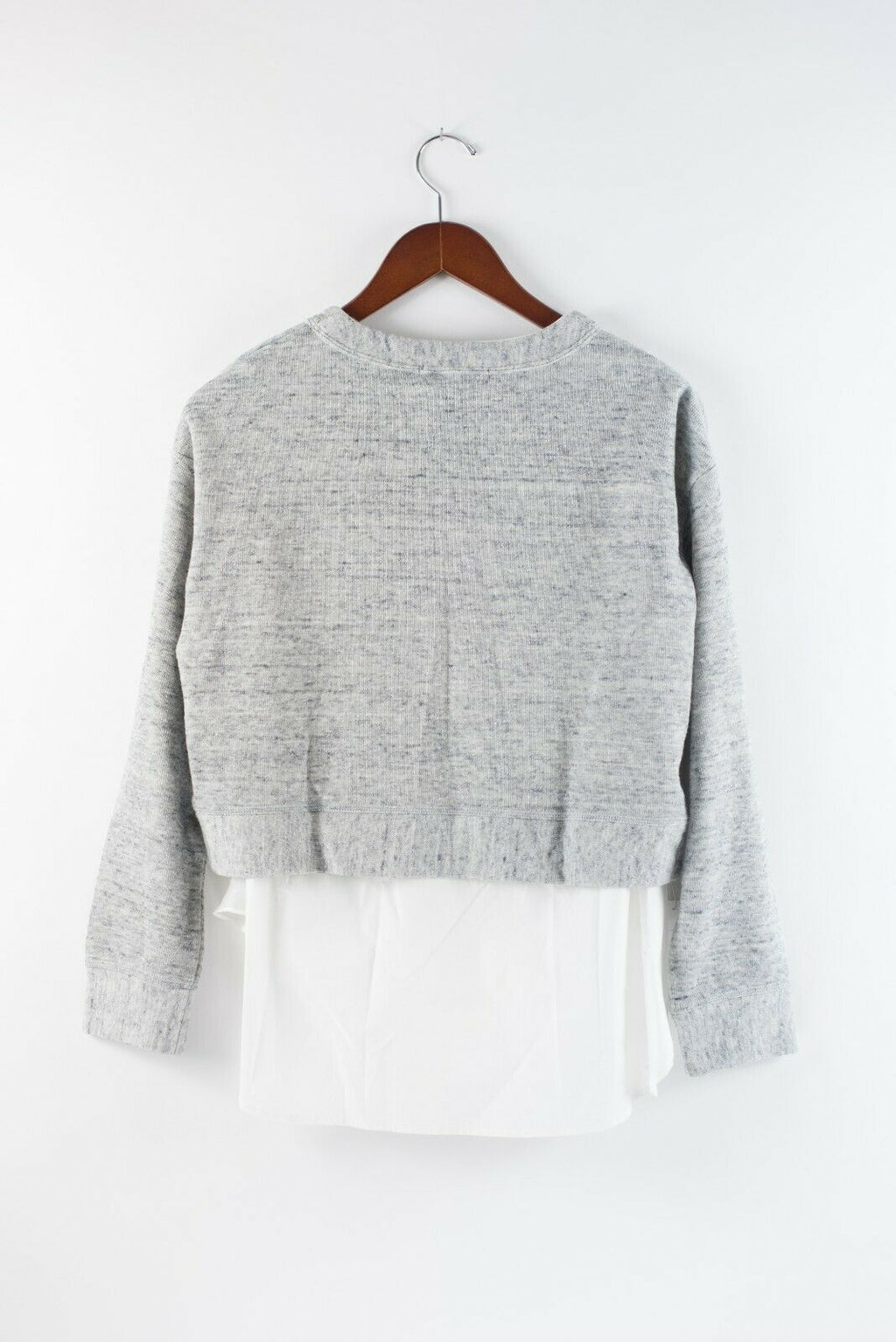 Derek Lam 10 Crosby Womens Size 0 Grey White Sweater Poplin Layered Sweatshirt