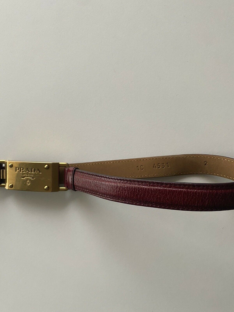 Prada Women's Small 32/100 Red Waist Belt Leather Thin Copper Logo Buckle Metal