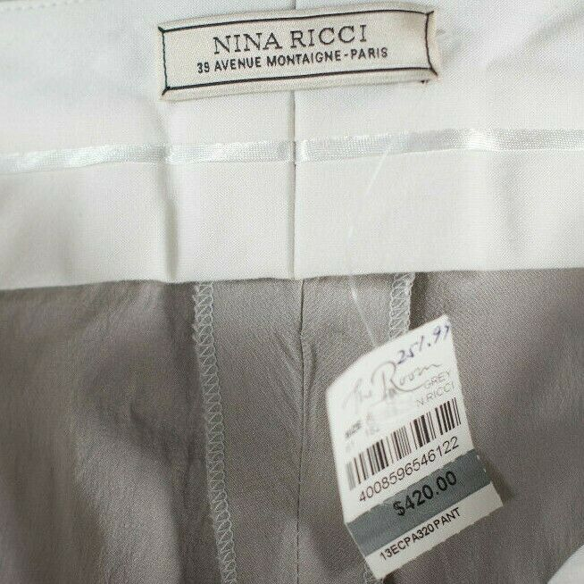 Nina Ricci Womens Small Beige Pants Ruched Nylon Skinny Slim Trousers NWT $420