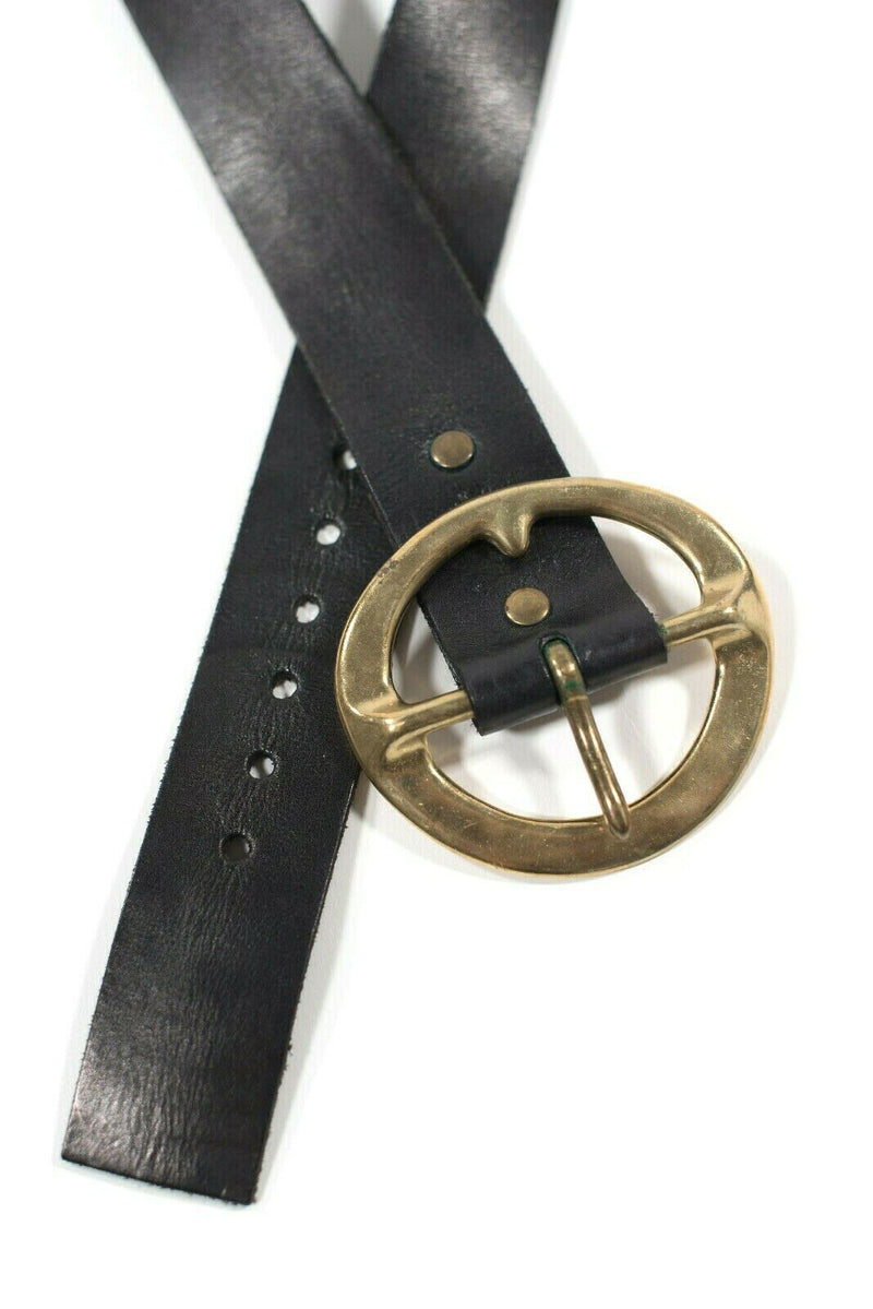 Red Monkey Designs Womens Size 32 Black Belt Solid Handmade Leather Gold Buckle