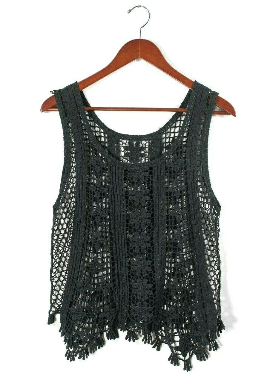 Womens S/M Black Tank Top String Crochet Net Mesh Strap Shirt Blouse Vintage