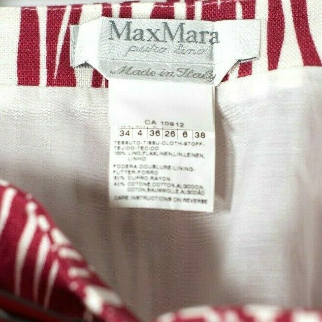 Max Mara Womens Size 4 6 Red White Skirt Bamboo Stripe Pattern Linen Patent Belt
