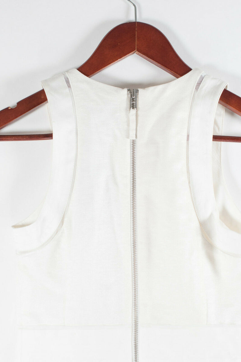 Armani Exchange Womens Size Petite 0 White Dress Sleeveless Zipper Front NWT
