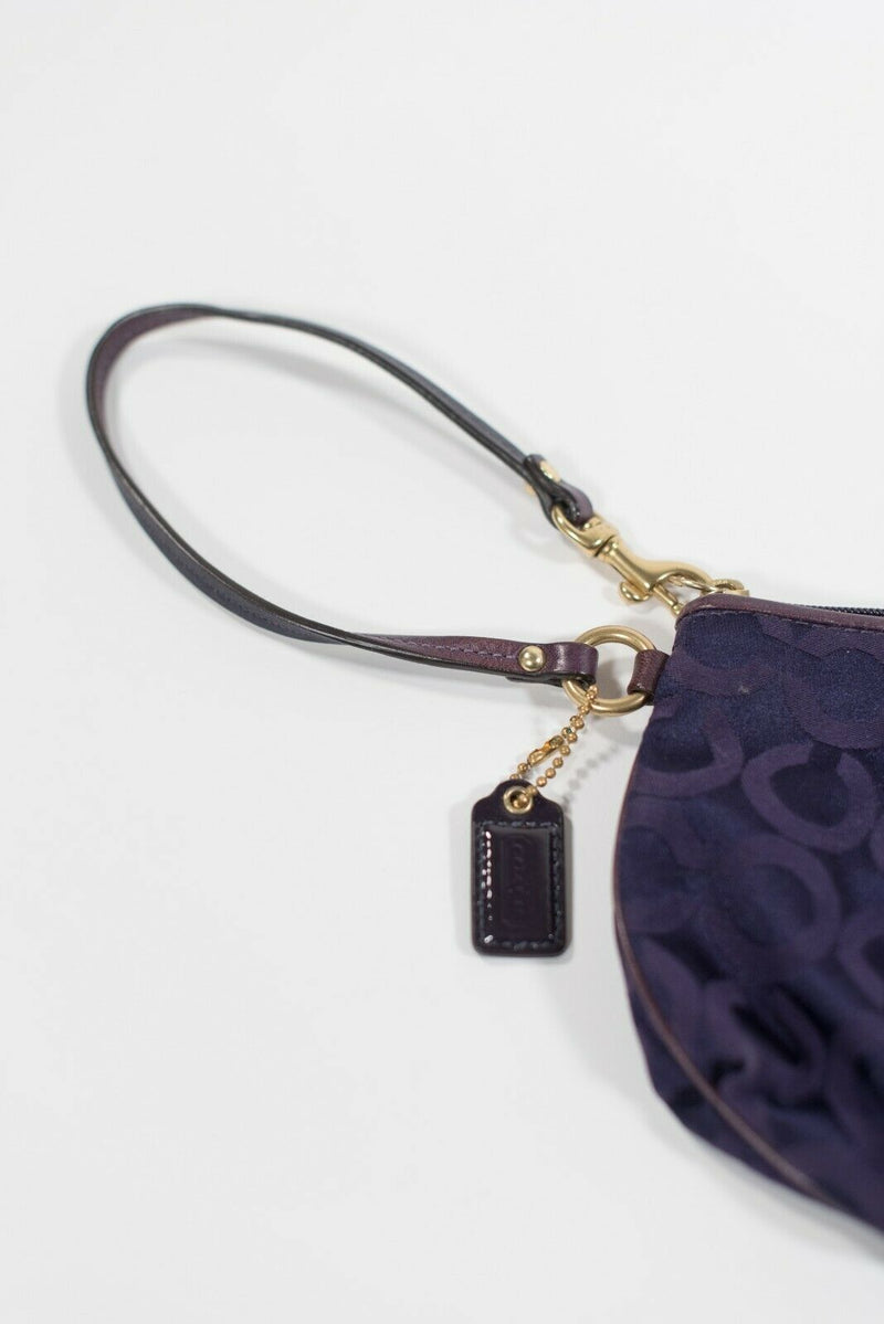 Coach Womens Small Purple Clutch Wristlet Monogram Embossed Fabric Coin Purse