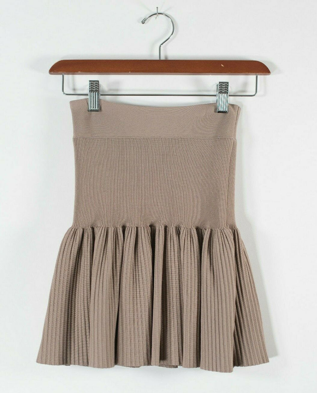 BCBG MaxAzria Womens XXS Beige Mini Skirt Pleated Ribbed Knit Elastic Waist NWT