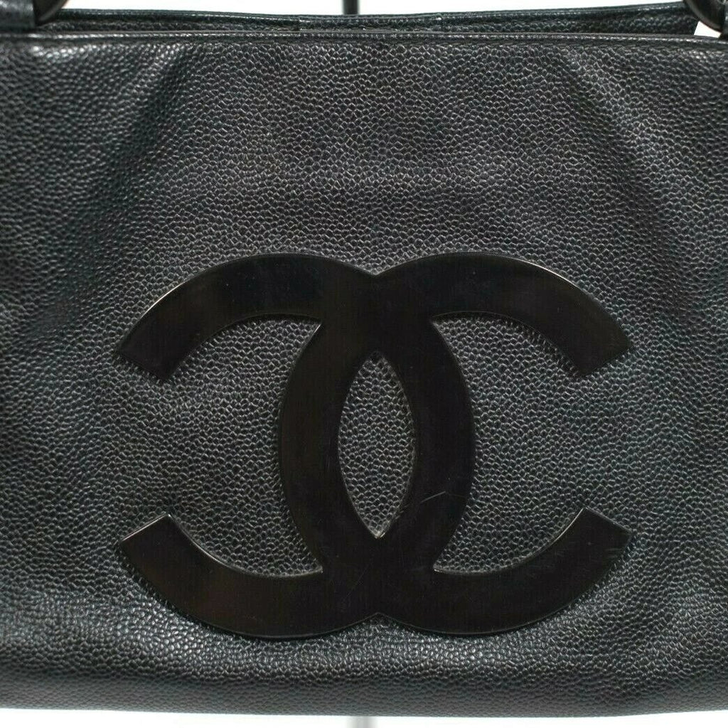 Chanel Womens Black CC Logo Handbag Plastic Chain Tote Purse Caviar Leather