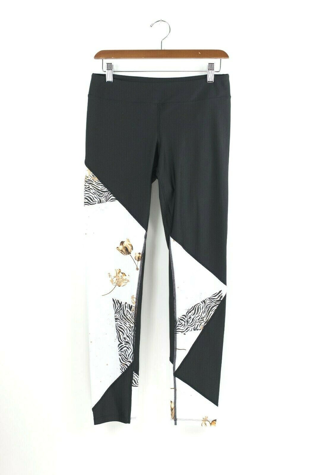 We Are Handsome Womens Large Black White Leggings Heat Seven Basque Pants NWT