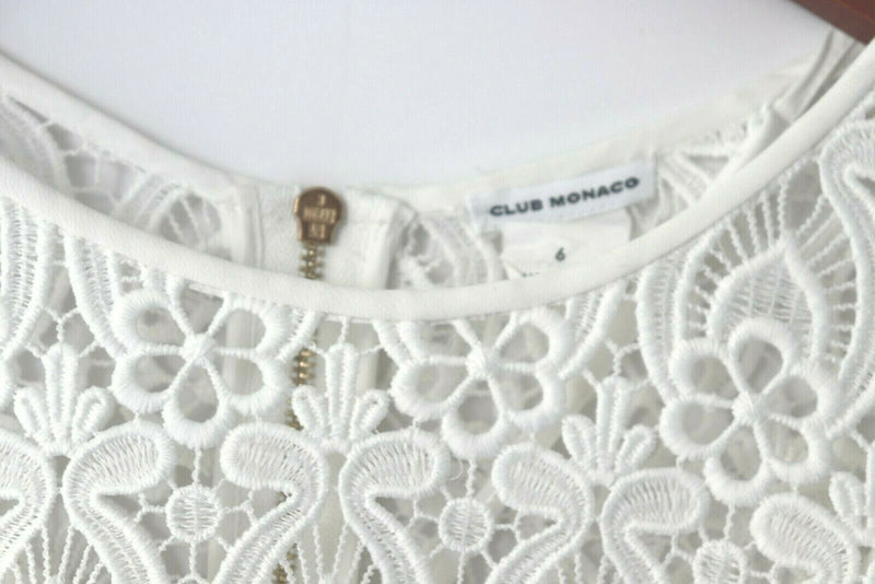 Club Monaco Women's Size 6 White Scalloped Edan Dress