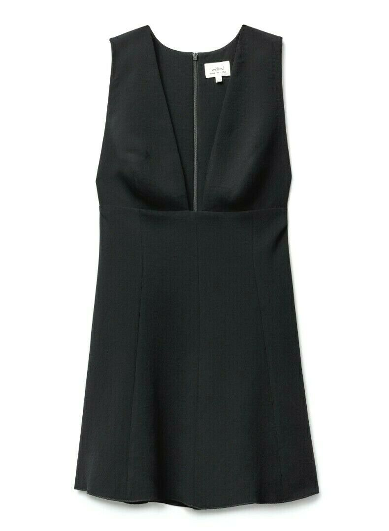Aritizia Wilfred Womens Size 2 XS Black Dress Montbrun Crepe Mini Dress Deep V