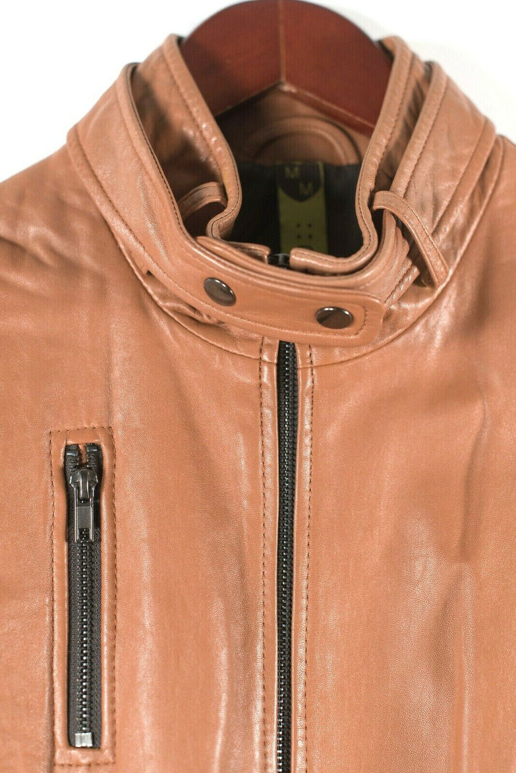Soia & Kyo Womens Medium Cinnamon Brown Motorcycle Jacket Leather Pocket Coat