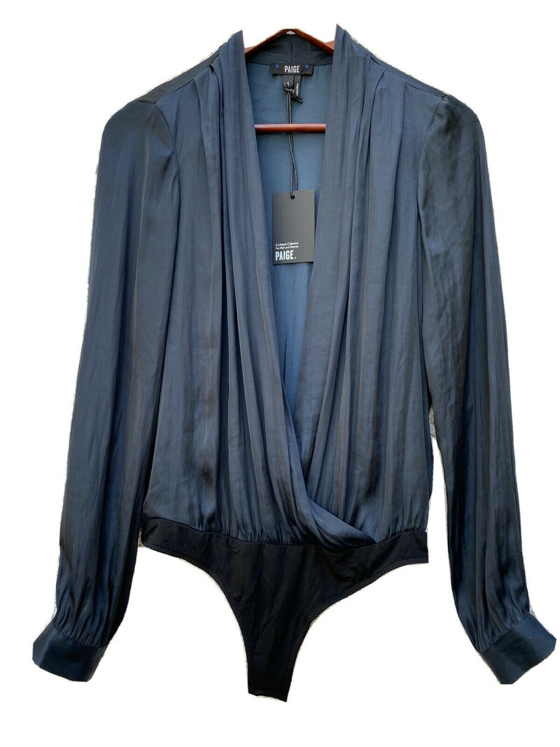 Paige Womens Size Small Navy Blue Sevilla Draped Satin Bodysuit Thong Shirt NWT