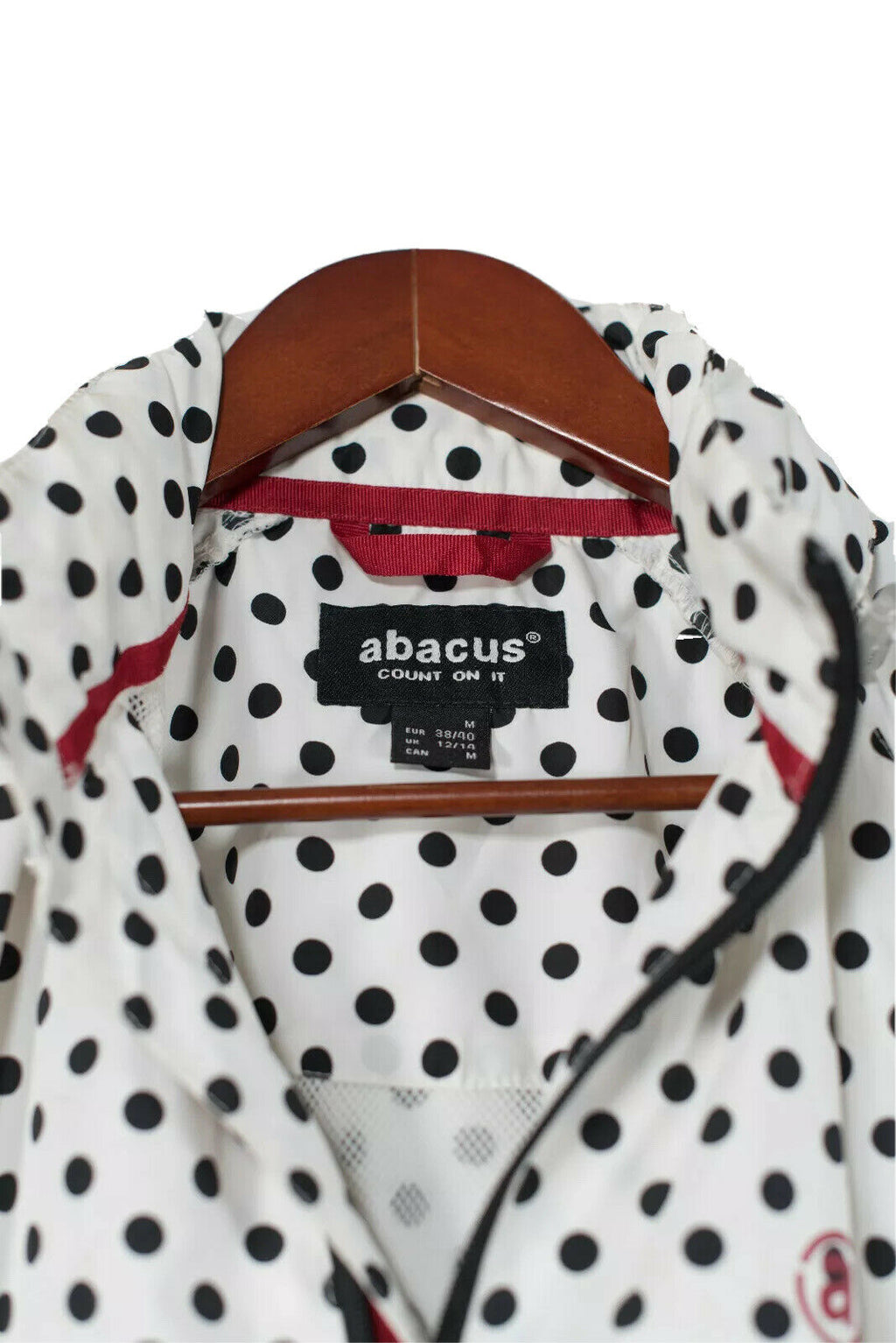 Abacus Size Medium Black White Polka Dot Windbreaker Jacket