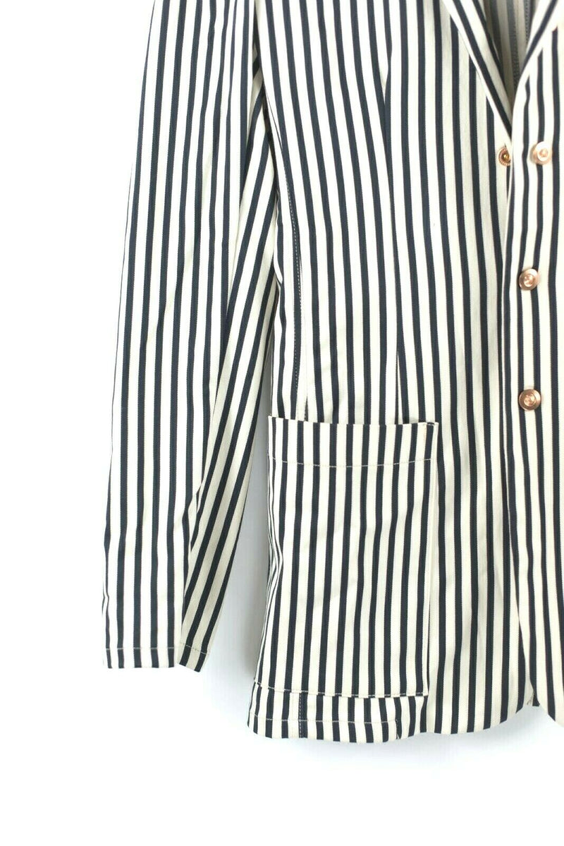 Jean Paul Gaultier JPG Womens White Black Jacket Rare Vintage 90s Blazer Striped