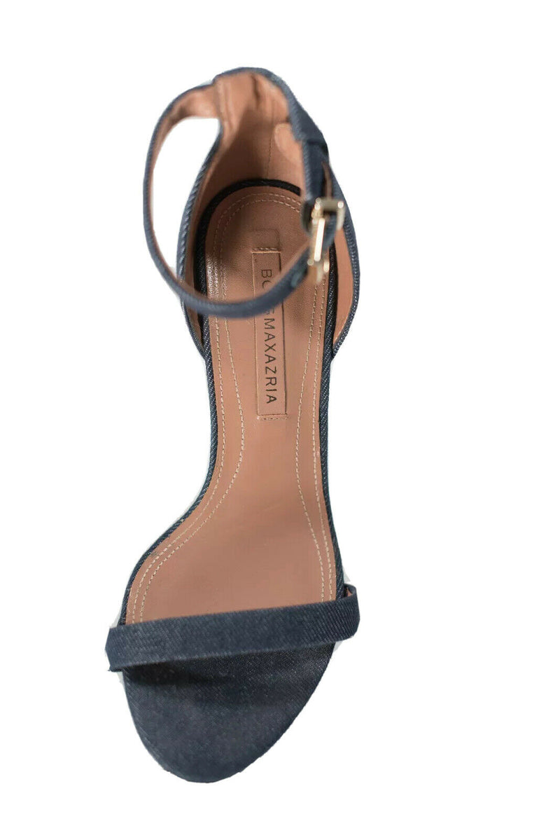 BCBG MaxAzria Womens 6.5 Blue Sandals Dona Denim Leather Lined Ankle Straps