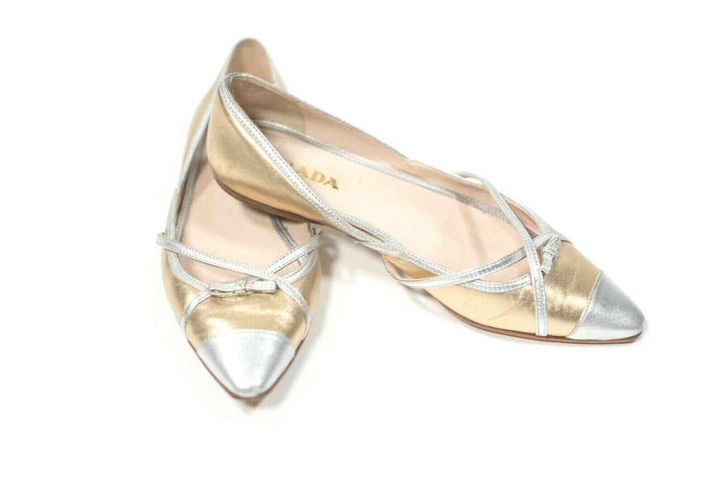 Prada Womens Size 36 USA 6 Silver Gold Shoes Ballet Flats Metallic Leather Bow