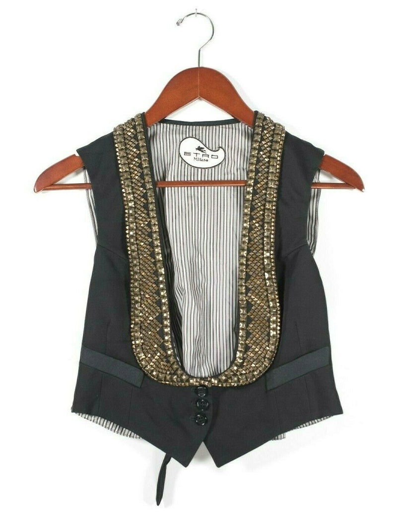 Etro Womens Small Black Gold Vest Blouse Sequin Button