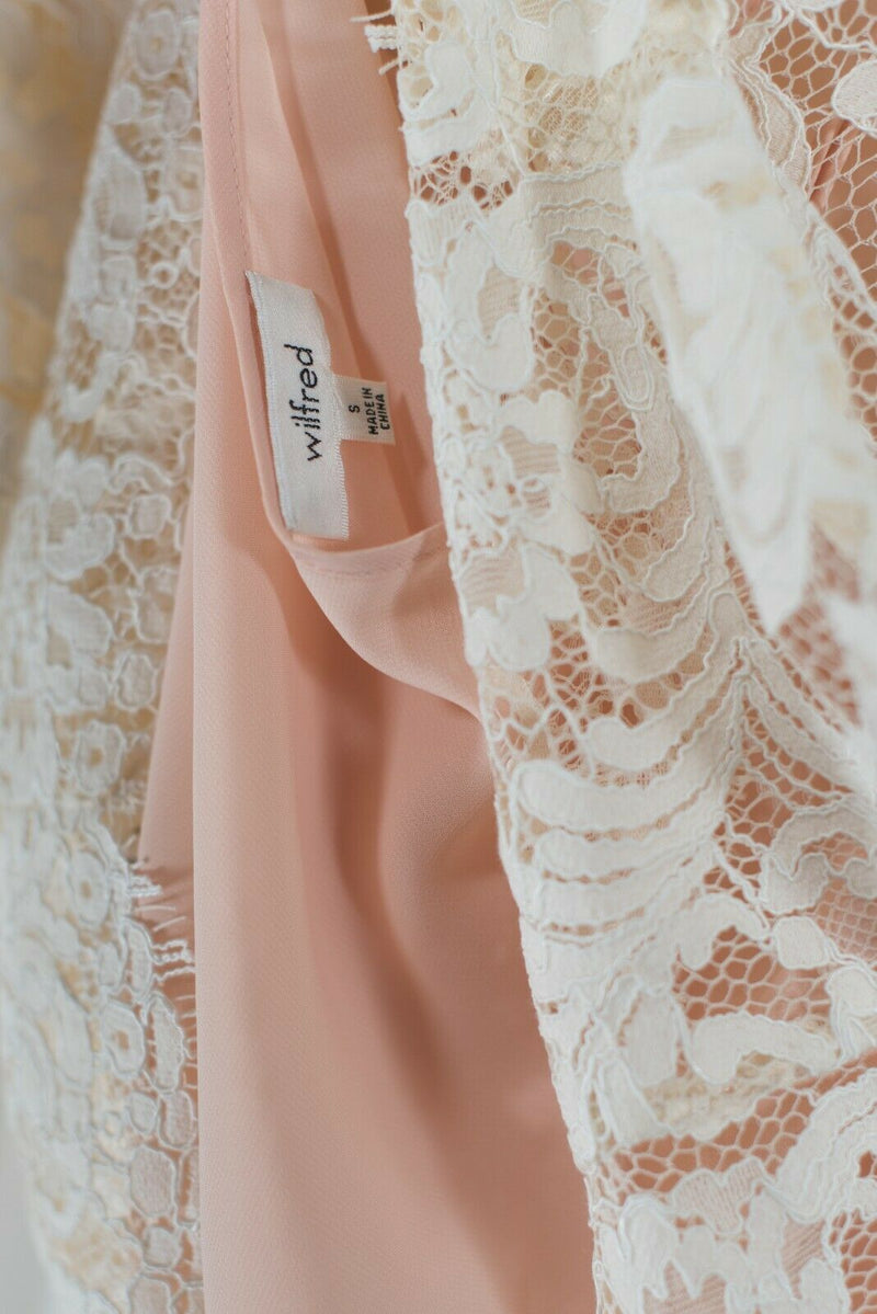 Aritzia Wilfred Womens Small Ivory Pink Top Long Sleeve Mock Lace Sheer Shirt